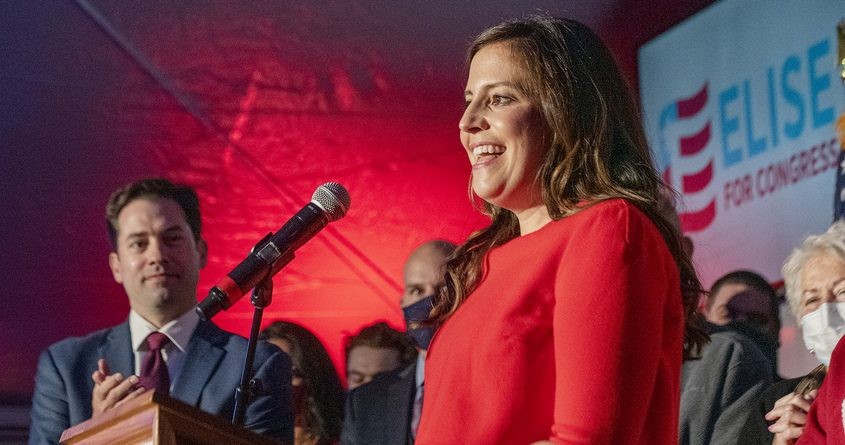 ERICA MILLER/STAFF PHOTOGRAPHER Congresswoman Elise StefanikTuesday night after her election victory.
