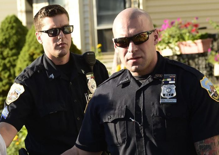 Schenectady police Officers Sgt. Nicholas Mannix, left, and Brian Pommer, who has been formally disciplined for violating two city Police Department policies during his handling of a controversial arrest this summer.