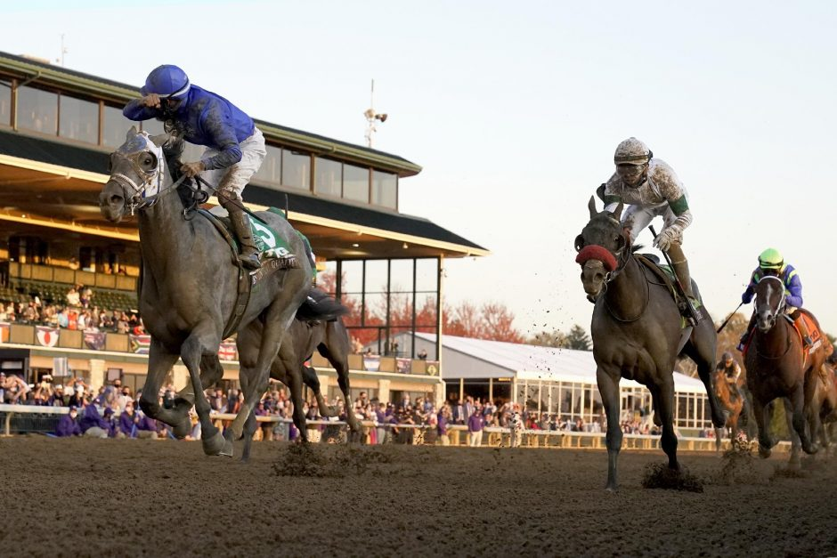 DARRON CUMMINGS/THE ASSOCIATED PRESSEssential Quality and jockey Luis Saez, left, win the Breeders' Cup Juvenile at Keeneland Race Course in Lexington, Kentucky, on Friday.