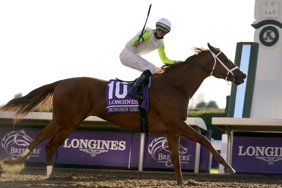 MICHAEL CONROY/THE ASSOCIATED PRESSjockey Florent Geroux celebrates as Monomoy Girl wins the Breeders' Cup Distaff at Keeneland on Saturday.
