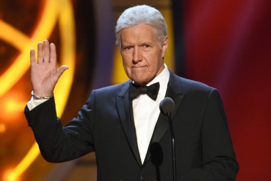 Alex Trebek gestures while presenting an award at the 46th annual Daytime Emmy Awards in May 2019