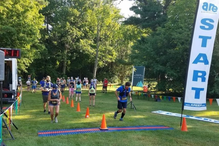 PHOTO PROVIDEDTo maintain social distancing, runners use a 10-second staggered start during the Thacher Park Trail Running Festival in August.