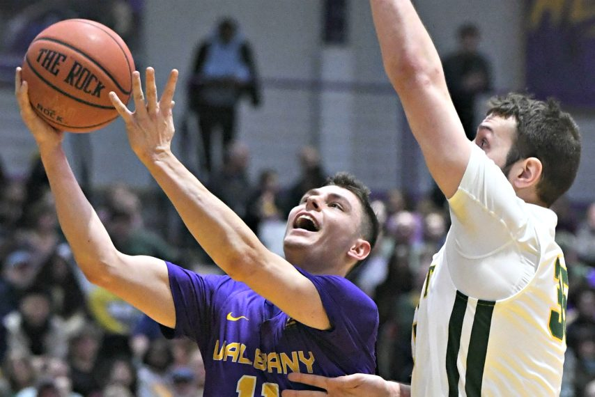 UAlbany men's basketball's Cameron Healy is shown during a game last season. (Gazette file photo)