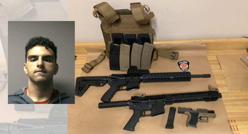 Alexander R. Alomar and the weapons police recovered - Credit: Colonie Police Department