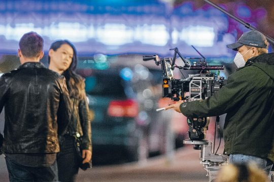 "A scene is filmed for ""Modern Love"" Friday on State Street near Johnny'€s Restaurant. (Peter R. Barber/Staff Photographer)"