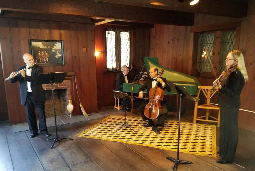 Ann-Marie Barker Schwartz on violin, Norman Thibodeau on flute, Andre O'Neill on baroque cello and Al Fedak on harpsichord at the Crailo Historic Site in Rensselaer. (Photo provided)