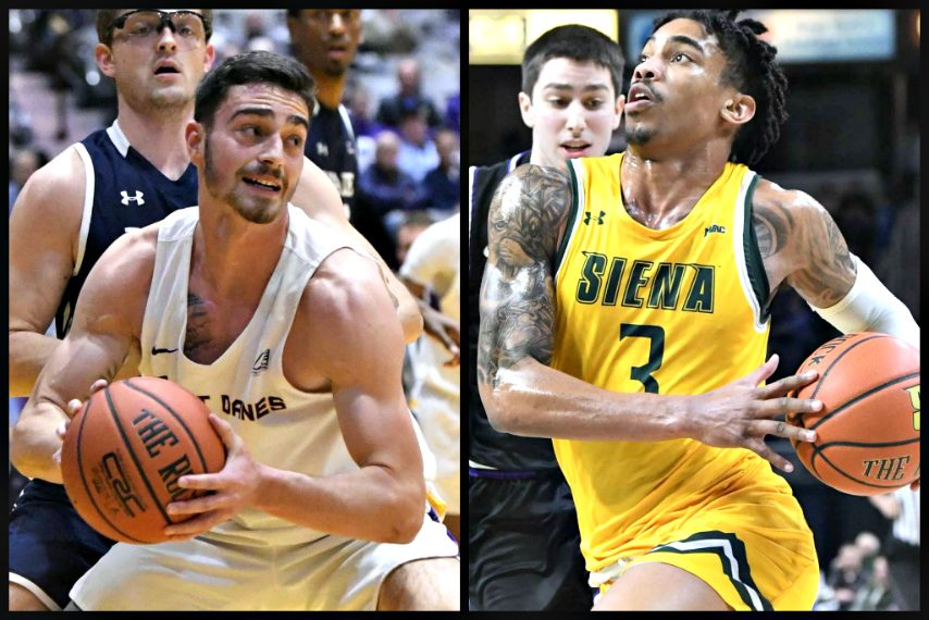 Both UAlbany and Siena will play at Mohegan Sun Arena. (Gazette file photos)