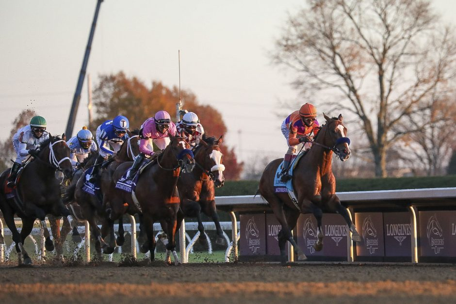 KATIE STRATMAN/USA TODAY SPORTSAuthentic, right, leads the pack, including Tiz the Law, second from right, during the early stages of the Breeders' Cup Classic at Keeneland last Saturday.