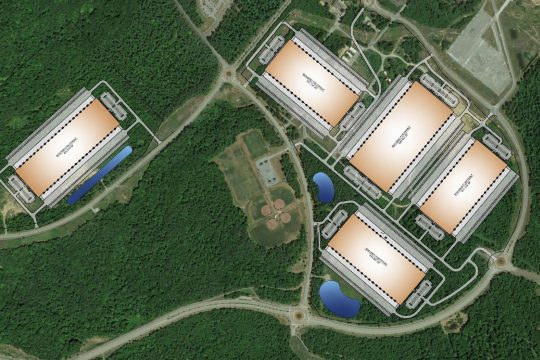 This rendering shows where buildings would be located in the Luther Forest tech park under a proposal by a national real estate developer.