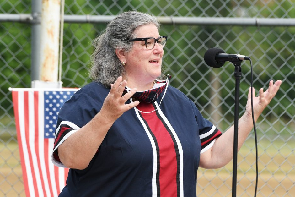 Assemblywoman Carrie Woerner speaks during a brief ceremony at Stillwater's American Legion Post 490 opening of their new Legion building off Lake Road, after years of fundraising and breaking ground on Memorial Day 2019, in Stillwater on Friday, July 3, 2020.