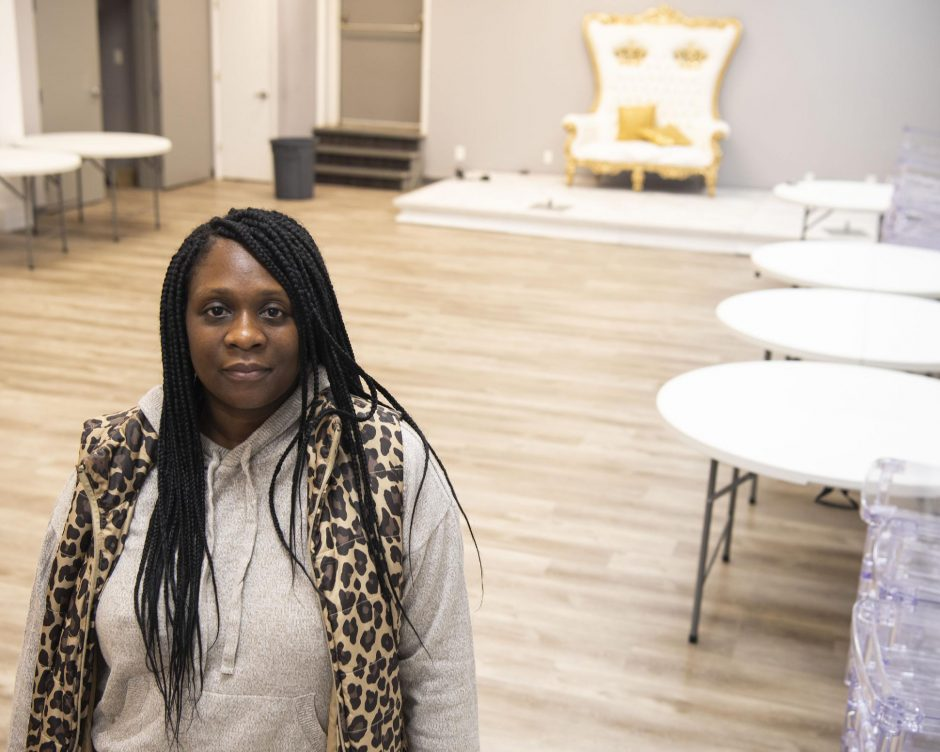 PETER R. BARBER/STAFF PHOTOGRAPHER Crystal Jones stands in the main room of her social club at 1643 Eastern Parkway Saturday, November 14, 2020.