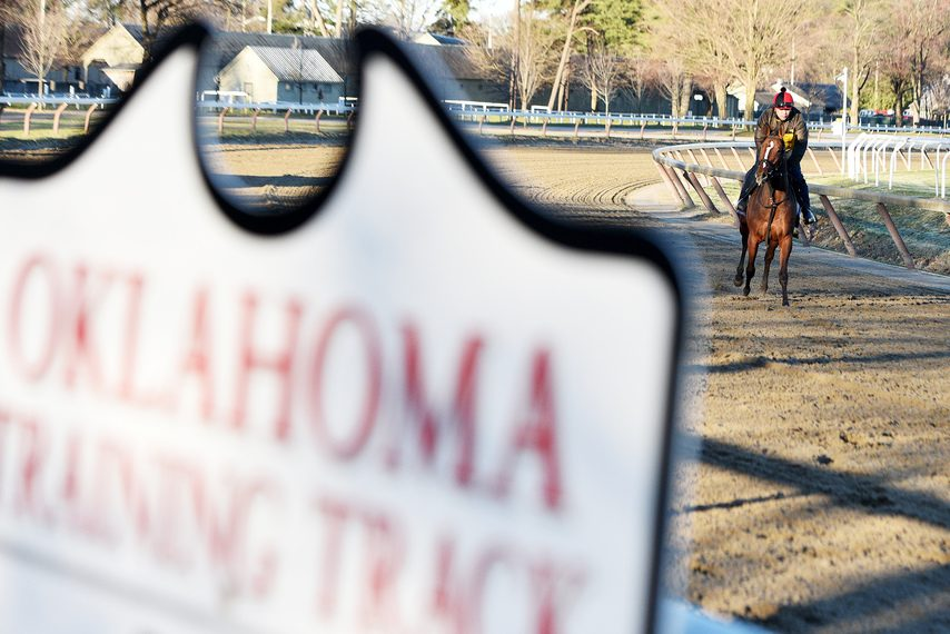 ERICA MILLER/GAZETTE PHOTOGRAPHER The Oklahoma Training Track at Saratoga Race Course, which closed for workouts last Tuesday, could be due for some renovation in the offseason.