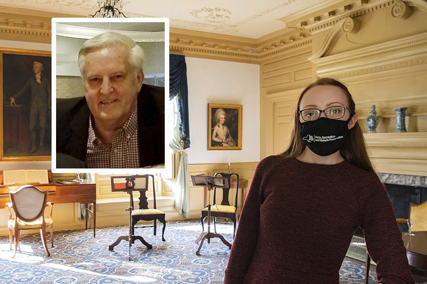 Jessica Serfilippi is picturedin the Schuyler Mansion in Albanylast month. Inset: Douglas Hamilton. (Peter R. Barber/Staff Photographer and provided photo)