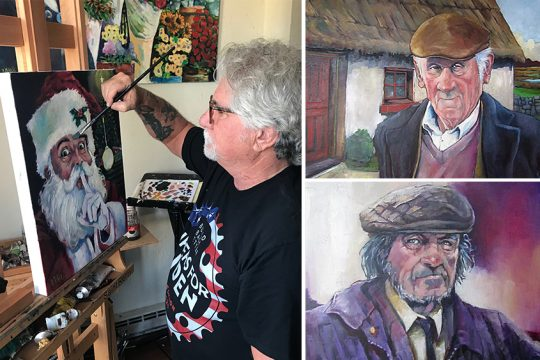 Kevin McKrell puts the finishing touches on his 2020 Santa Claus painting earlier this year at his home in Saratoga Springs(photo by Sue Jacobsen), At right are two of his paintings of Irishmen.