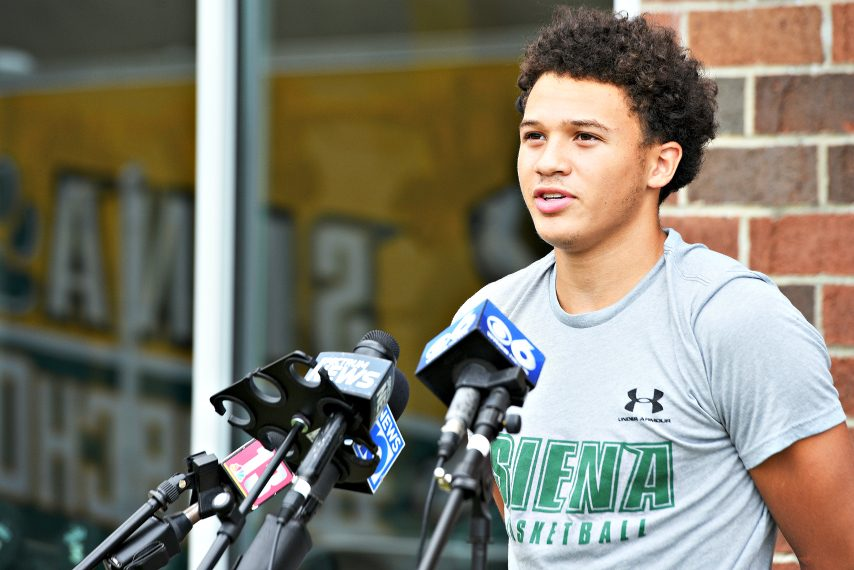 Siena's Jordan King is interviewed earlier this year. (Gazette file photo)