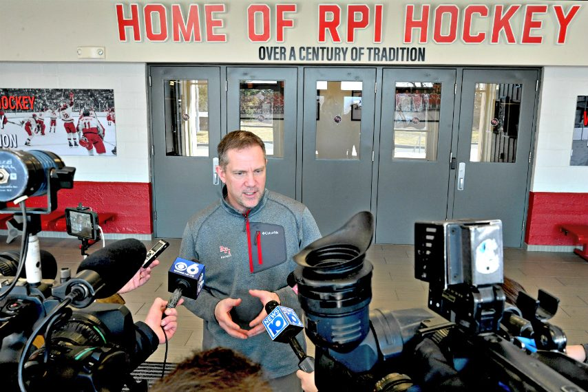 RPI men's hockey head coach Dave Smith addresses media members earlier this year at Houston Field House in Troy. (Gazette file photo)