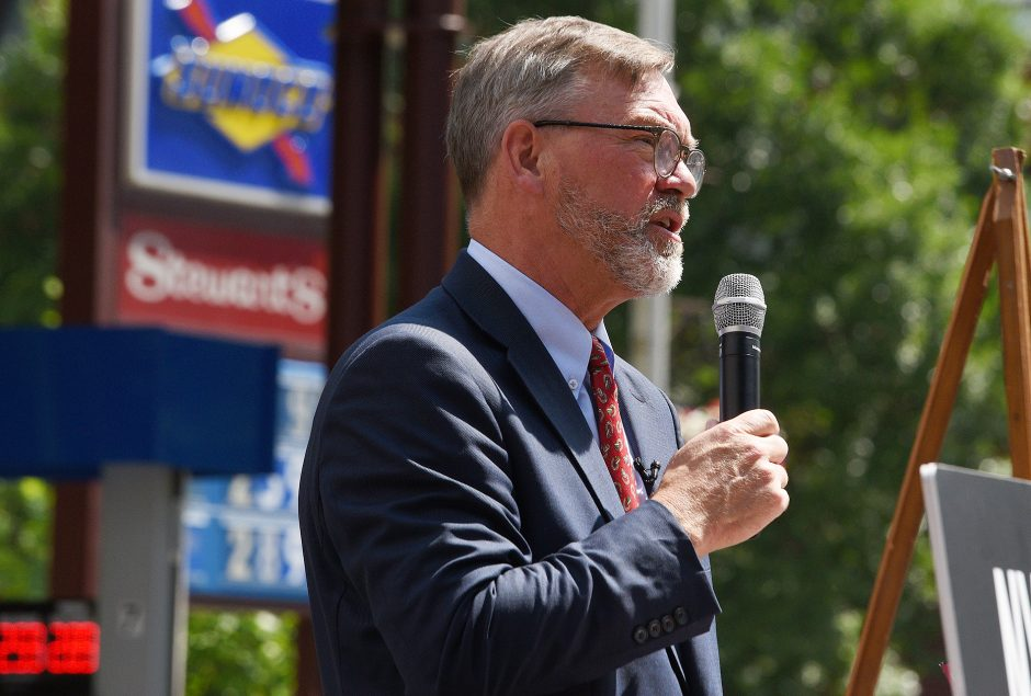Stewart's Shops President Gary Dake is pictured at a press conference in July. (Gazette file photo)