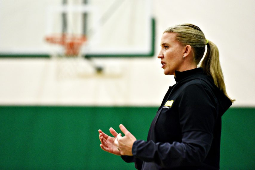 Siena women's basketball head coach Ali Jaques is shown earlier this fall. (Erica Miller)