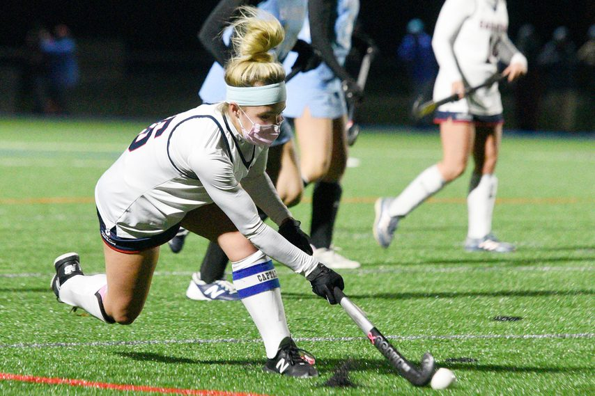 ERICA MILLER/STAFF PHOTOGRAPHER Saratoga Springs co-captain Erin Fleming drives the ball against Columbia during Monday's Suburban Council tournament first-round game on the Blue Streaks field.