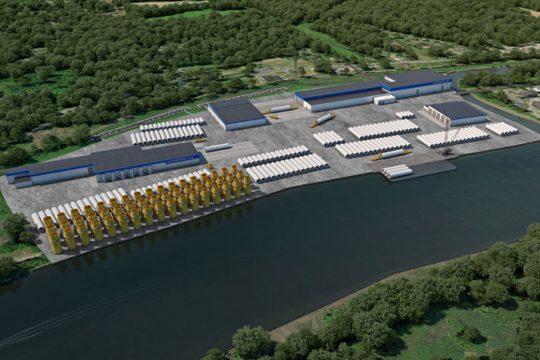 An artist's rendering shows a proposed wind tower production facility at the Port of Albany. (photo provided)