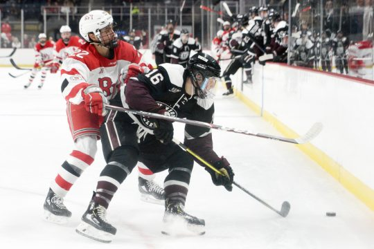 RPI's Cory Babichuck checks Union's Christian Sanda during the Mayor's Cup at Times Union Center in Albany on Jan. 25.