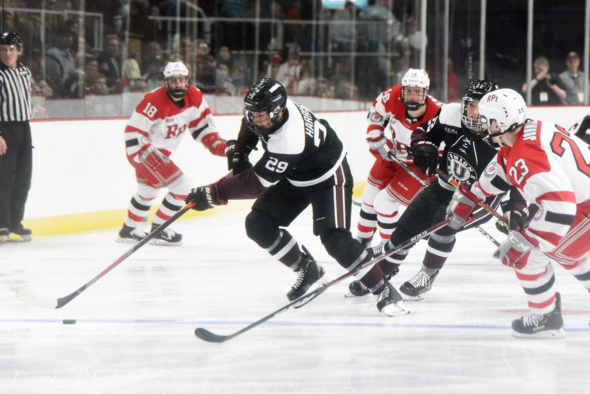 ERICA MILLER/STAFF PHOTOGRAPHER Union's Sean Harrison (29) handles the puck against RPI during the Mayor's Cup at the TU Center on Jan. 25.