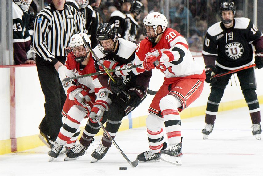 ERICA MILLER/STAFF PHOTOGRAPHER The Union and RPI men square off in the Mayor's Cup at the TU Center in on Jan. 25.