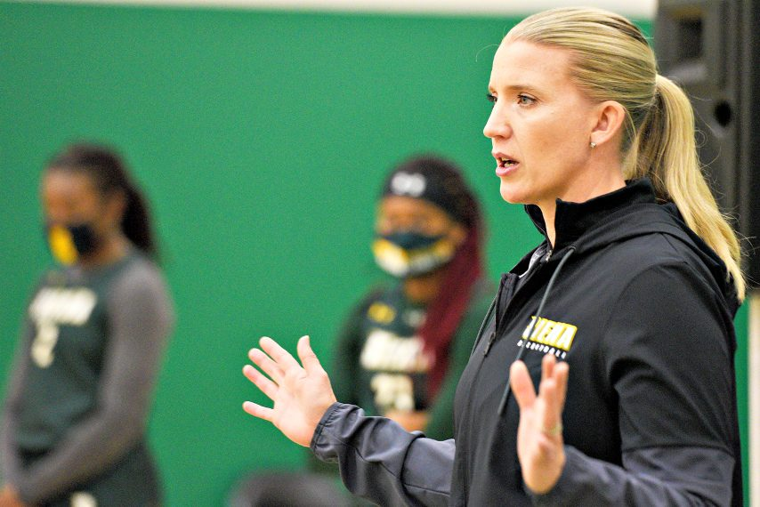 Siena coach Ali Jaques is shown at the women's basketball team's media-day event. (Gazette file photo)