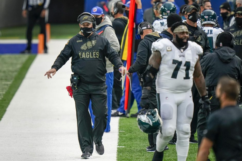Corey Sipkin/The Associated PresPhiladelphia Eagles head coach Doug Pederson walks the sideline in the second half of last Sunday's game against the New York Giants at MetLife Stadium.