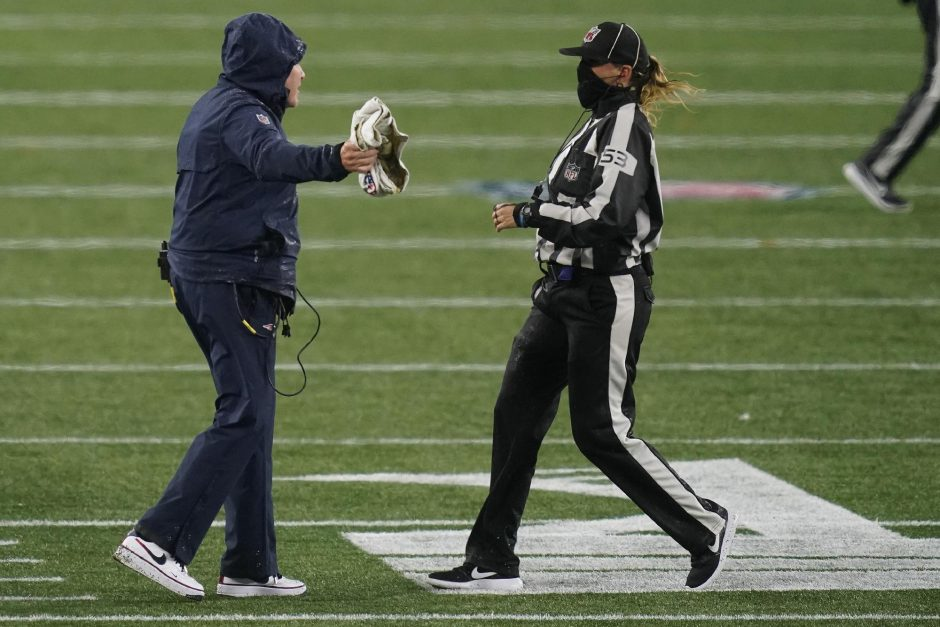 Elise Amendola/The Associated PressNew England Patriots head coach Bill Belichick appeals to down judge Sarah Thomas in the second half of last Sunday's game against the Baltimore Ravens at Gillette Stadium.