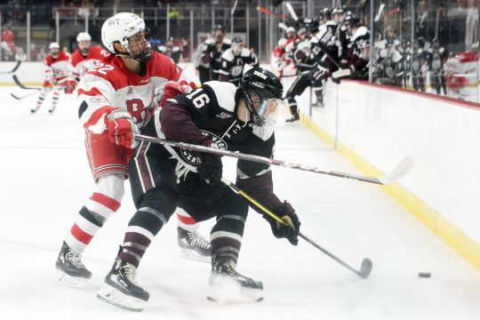 ERICA MILLER/STAFF PHOTOGRAPHER RPI's Cory Babichuck checks Union's Christian Sanda during the Mayor's Cup game Jan. 25 at Times Union Center.