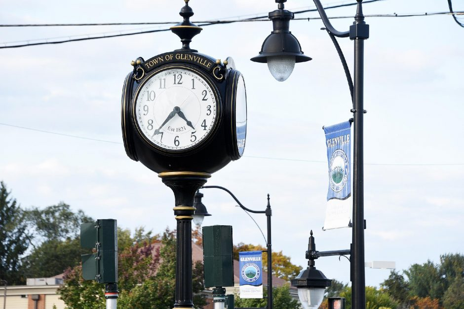 The Glenville town clock stands on Route 50 and Glenridge Road in this file photo.