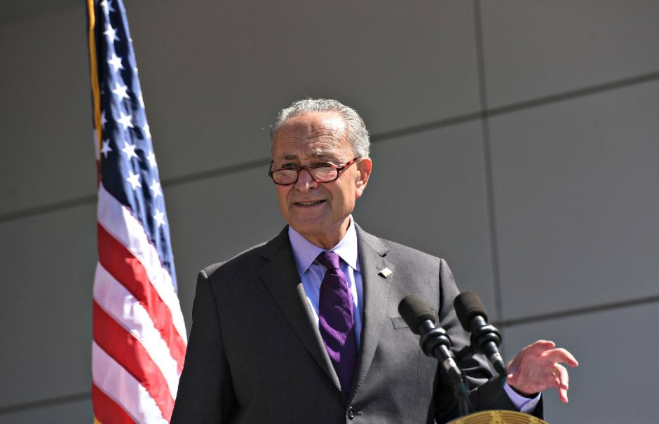 U.S. Senator Chuck Schumer (D-NY), seen at an appearance in Malta this summer, spoke Thursday at Nathan Littauer Hospital in Gloversville about the Medicaid Disproportionate Share Hospital program. (Stan Hudy/Staff Writer)