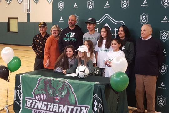 Surrounded by her family, Schalmont senior soccer star Ashley Cirilla signed a national letter of intent to attend Binghamton University next fall.