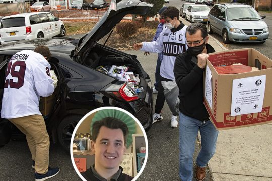 City Mission of Schenectady Executive Director and CEO Mike Saccocio, right, carries a box of donated clothing items from Union College hockey players Sean Harrison and Josh Kosack on Friday. Inset photo:Union senior Josh Kosack.