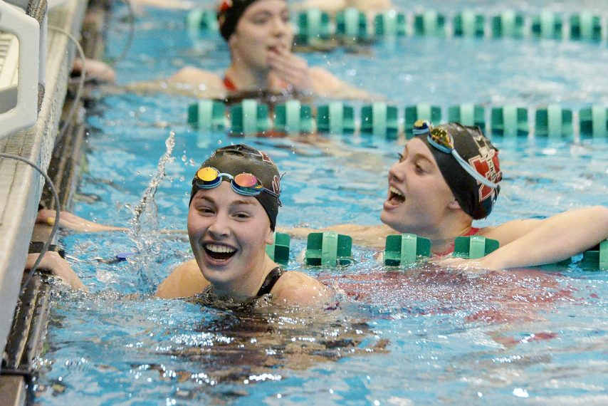 ERICA MILLER/STAFF PHOTOGRAPHERBurnt Hills- Ballston Lake/ Scotia- Glenville's Ally Frame in smiles are competing in the 100 yard freestyle during the Suburban Council girls swimming championships at Shenendehowa in Clifton Park on Saturday, November 21, 2020.