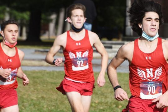 ERICA MILLER/STAFF PHOTOGRAPHER Niskayuna's Julian Franjieh, right, leads Niskayuna at the start of their heat of the Suburban Council Championships Saturday.