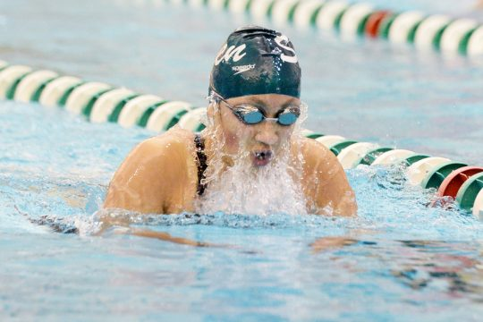 Shenendehowa's Alice Han competes in the 200 yard IM during the Suburban Council girls swimming championships at Shenendehowa in Clifton Park on Saturday.