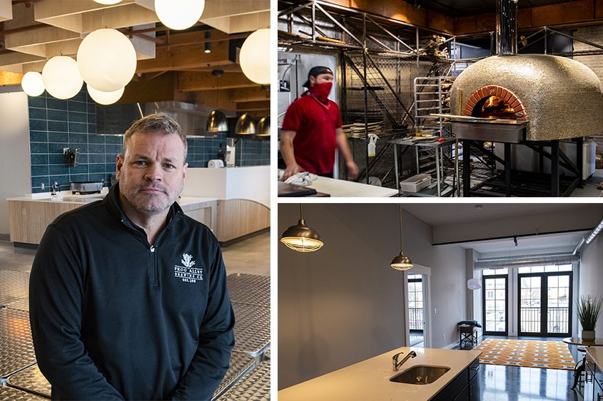 Clockwise from left: J.T. Pollard in the Bountiful Breadbakery at Mill Lane Artisan District; Nick Meola with the wood-fired pizza oven atAnnabel's Pizza Co.; an apartment in The Lofts at Frog Alley. (Peter R. Barber/Staff Photographer)