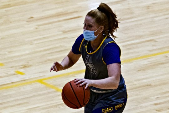 Grace Heeps is shown during a preseason UAlbany women's basketball practice earlier this year. (Gazette file photo)