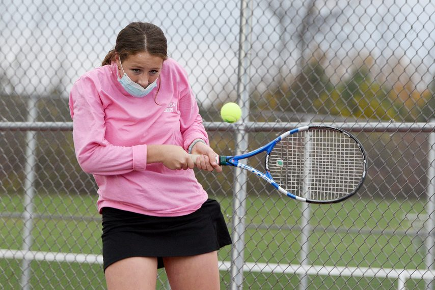 Amsterdam senior Natalie Flint during their tennis match against Hudson Falls in Amsterdam on Thursday, Oct. 22.