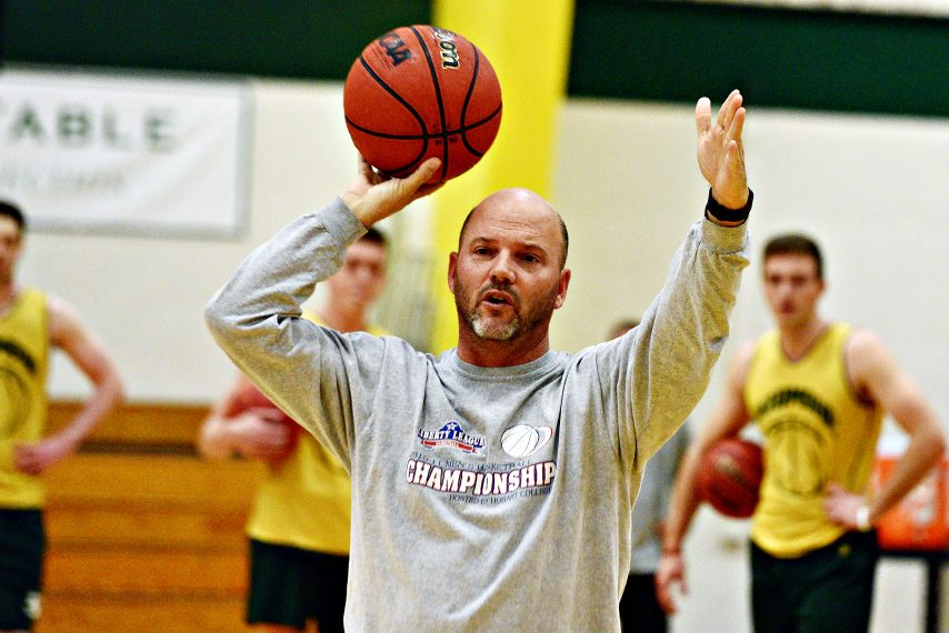 Skidmore men's basketball head coach Joe Burke is shown at a 2019 practice. (Erica Miller)