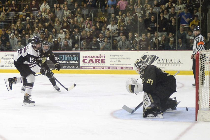 PETER R. BARBER/GAZETTE PHOTOGRAPHERJack Adams scores for Union against Army at Messa Rink on Oct. 6, 2018.