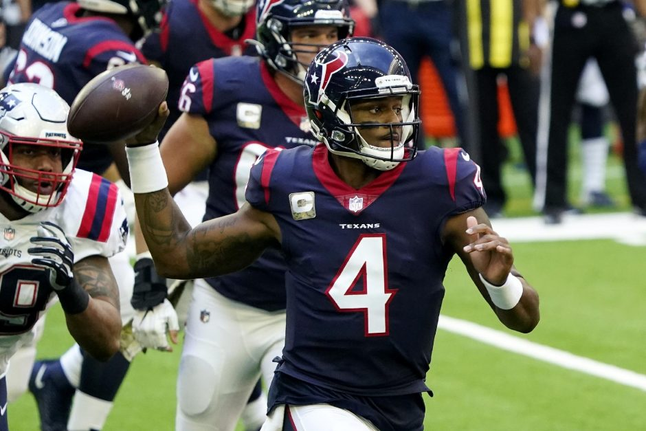 David J. Phillip/The Associated PressHouston Texans quarterback Deshaun Watson looks to throw against the New England Patriots during the first half of last Sunday's game.