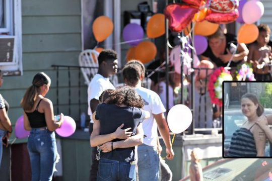 Family and friends gather at the shooting scene in August; Jennifer Ostrander (inset) Credit: File and Provided