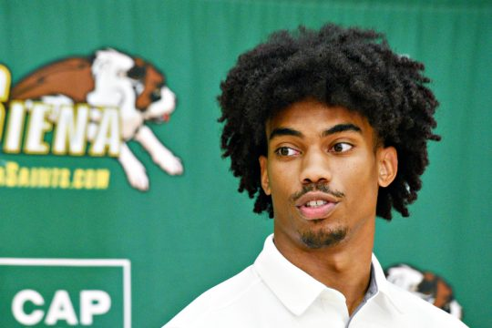 Siena's Manny Camper is shown during a preseason press conference. (Erica Miller)