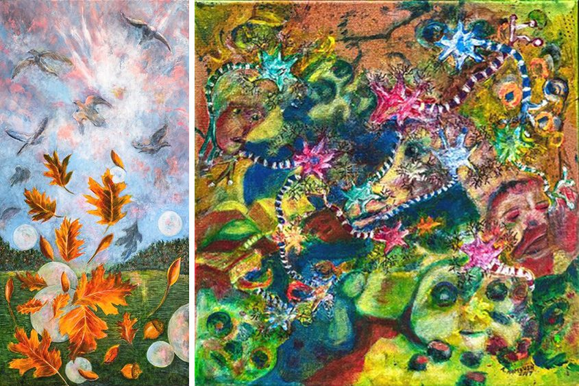"""Adirondack Wakening,"" left, by Leslie Ford and ""Dreamscape"" by Arlene Rambush."
