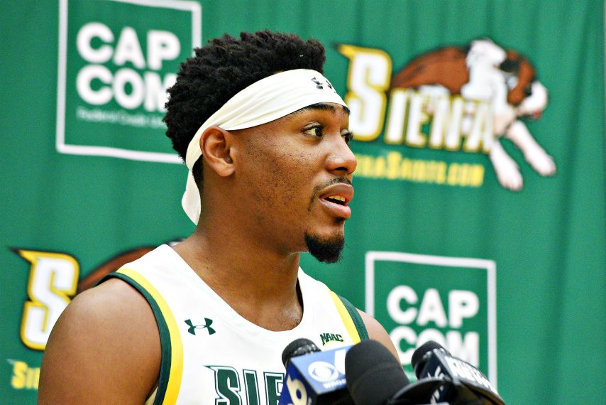 Siena men's basketball player Jalen Pickett is shown earlier this year at his team's media-day event. (Erica Miller)