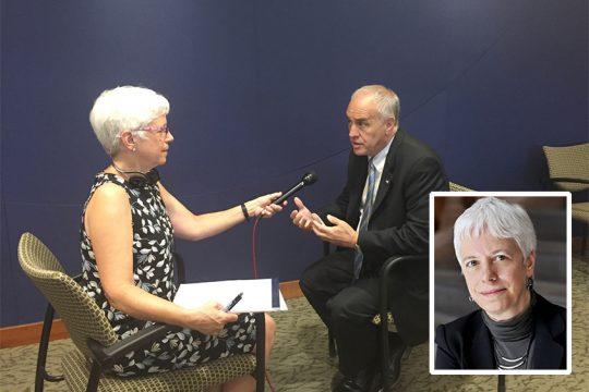 Karen DeWitt interviews state Comptroller Thomas P. DiNapoli for New York State Public Radio. (North Country Public Radio)