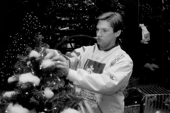 """Dan Czech trims an evergreen at the Amsterdam Riverfront Center's """"Festival of Trees"""" in 1996."""